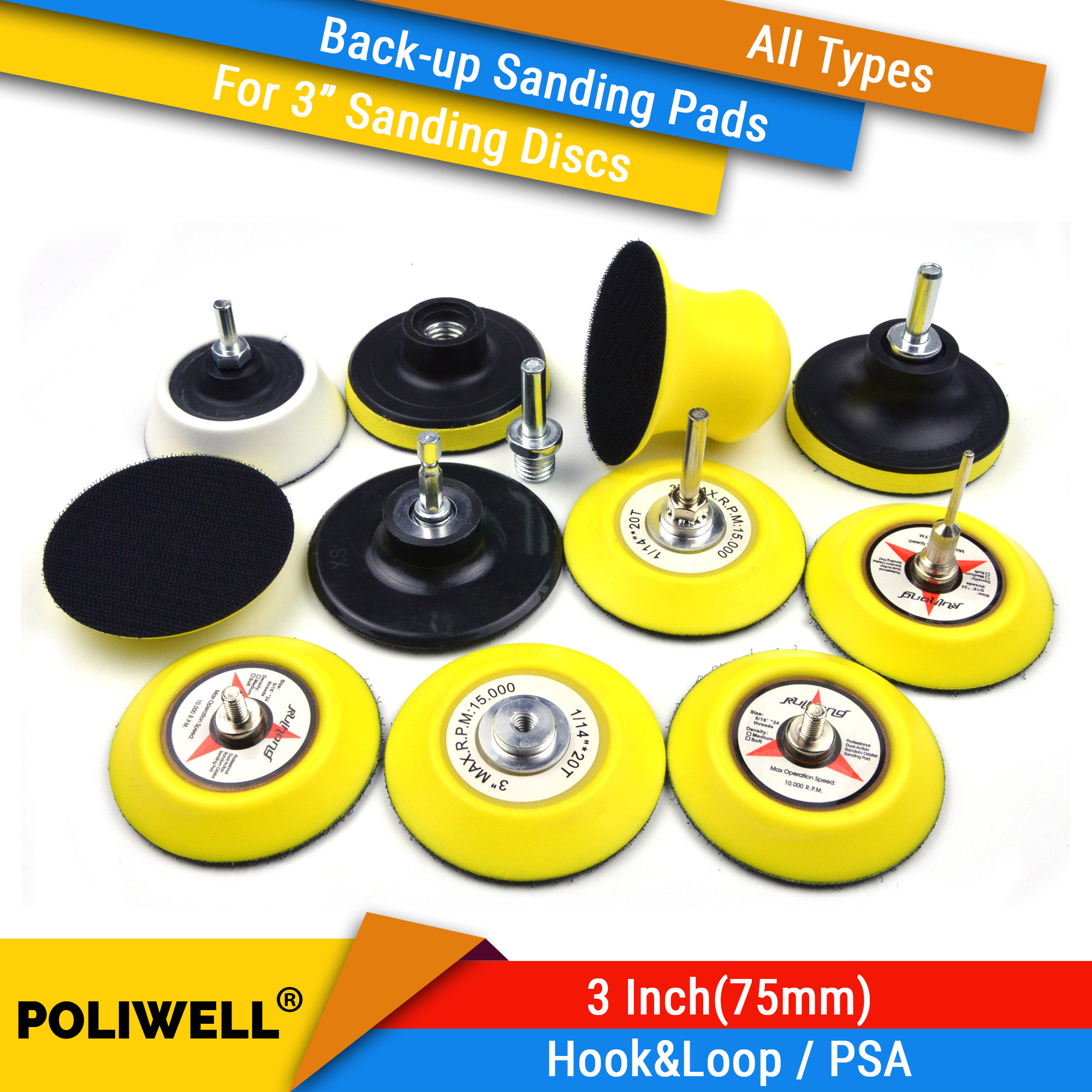 3 Inch All Types Back-up Sanding Pads For Abrasive Sandpaper Sanding Discs For Woodworking Polishing Tool Accessories