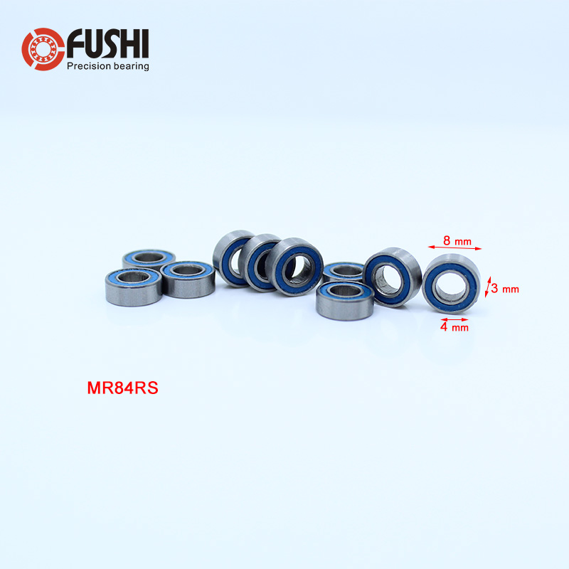 MR84RS Bearing ABEC-3 (10PCS) 4*8*3 mm Miniature MR84-2RS Ball Bearings RS MR84 2RS With Blue Sealed L-840DD резинки bizon резинка для волос