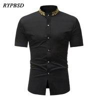 Summer New Vintage Collar Embroidery Gold Tree Leaf Short Sleeve Casual Slim Fit Social Basic Black White Dress Shirts Men Tops