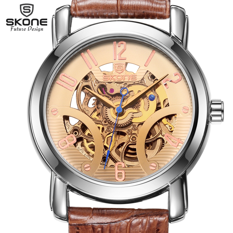 SKONE Waterproof Automatic Mechanical Watches Men TOP Luxury Genuine Leather Strap Casual Watch Skeleton Watch relogio masculino skone relogio 9385