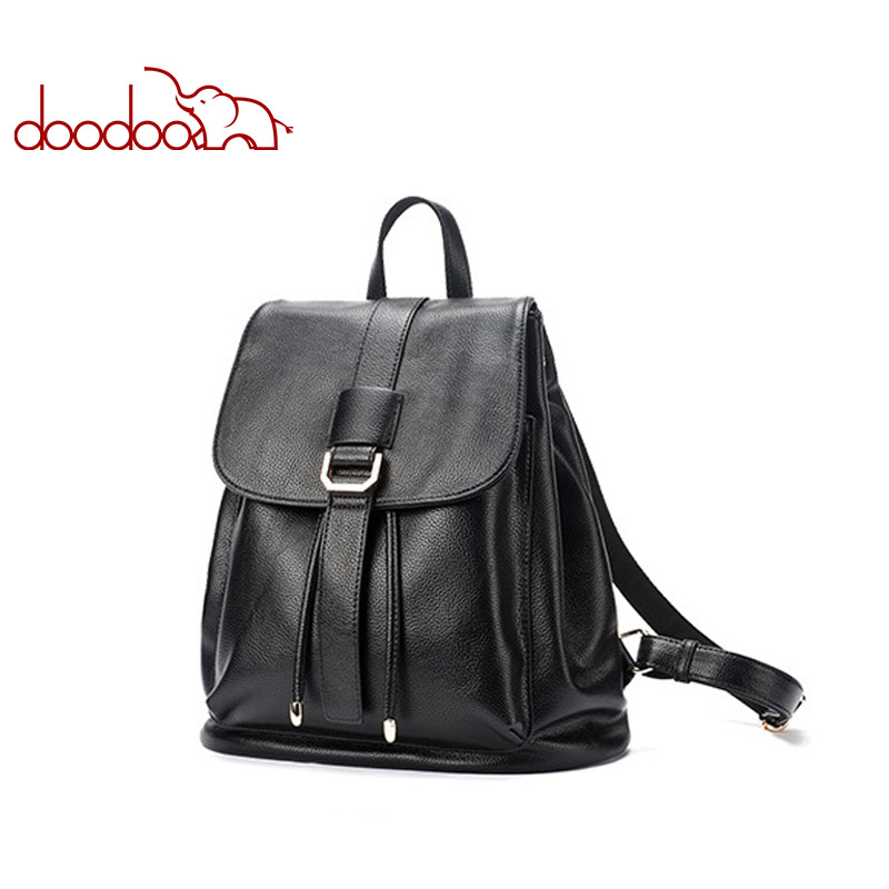 DOODOO Fashion Teen Backpack Women Bag Pu Leather Backpacks Travel Multifunctional School Bags 2018 Two Style