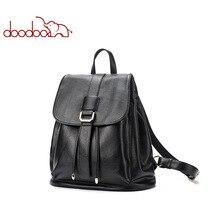 DOODOO Fashion Teen Backpack Women Bag Pu Leather Backpacks