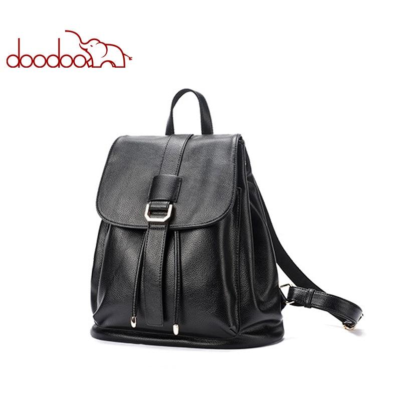 Bagaj ve Çantalar'ten Sırt Çantaları'de DOODOO Moda Genç Sırt Çantası Kadın Çantası Pu Deri Sırt Çantaları Seyahat Çok Fonksiyonlu Okul Çantaları 2018 Iki Tarzı Büyük Sırt çantası'da  Grup 1