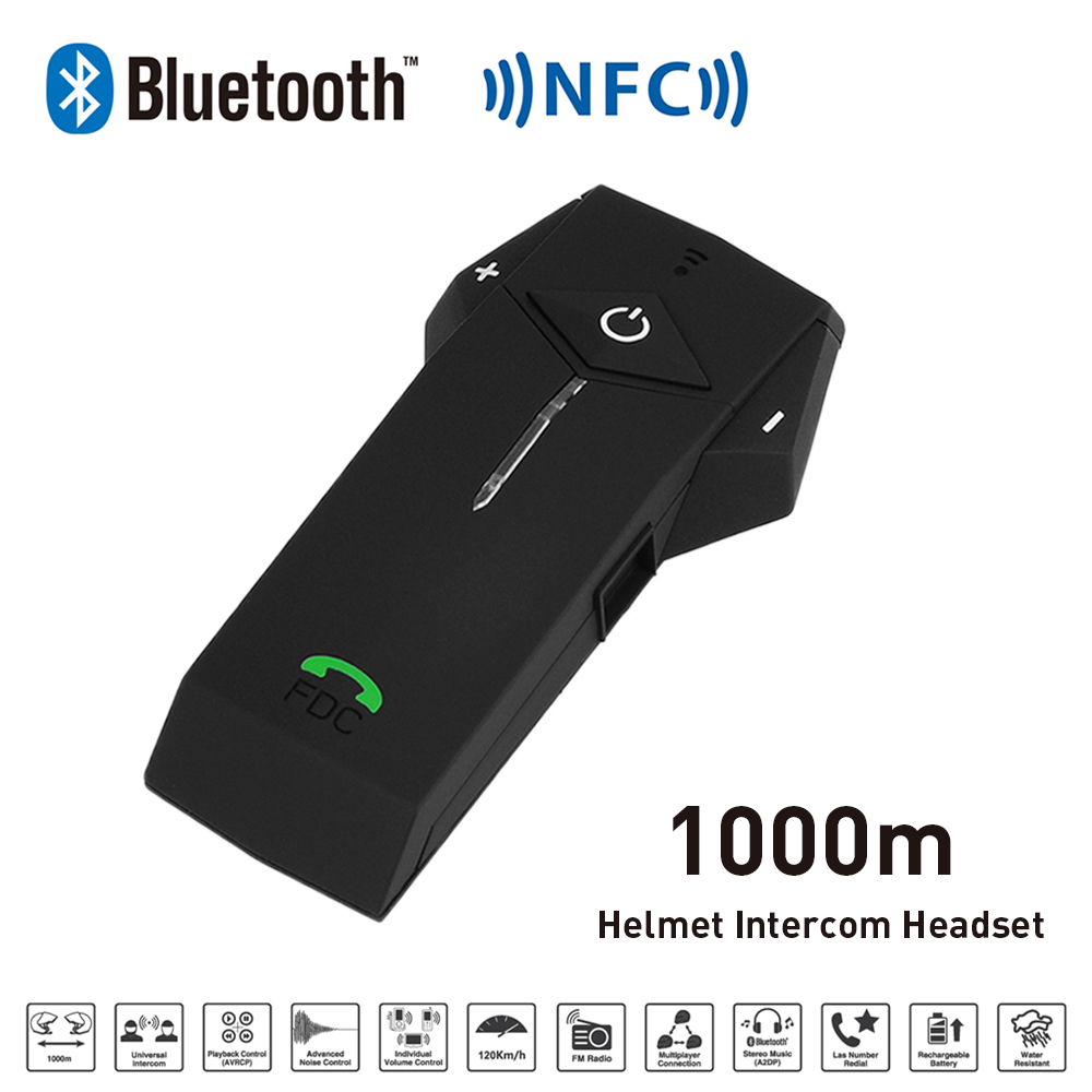 FreedConn 1000M BT NFC FM Radio Function Motorcycle Helmet Intercom Wireless Headset Interphone Headphone For Phone/GPS/MP3 new 800m fm function bluetooth motorcycle snowmobile helmet intercom headset for phone gps mp3 intercomunicador motocicleta
