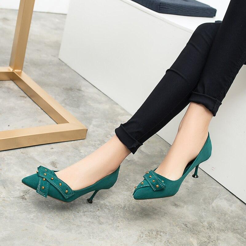 Rebaño Elegante De Nuevo Oficina Zapatos La Pie Carrera en Mujeres Primavera Cielo Tacón Puntiagudo Bombas Negro Vintage Alto Las Del Laides Dedo Mujer azul Remache 2019 Resbalón YxfEwqw