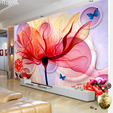 Custom Mural Wallpaper Modern Abstract Flower Art Wall Painting Stereoscopic Living Room TV Background Home Decorative Wallpaper(China)