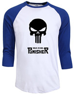 The Punisher Skull 2017 Summer Autumn Raglan Sleeve Tops Tee Hip Hop Streetwear Funny Hipster Crossfit