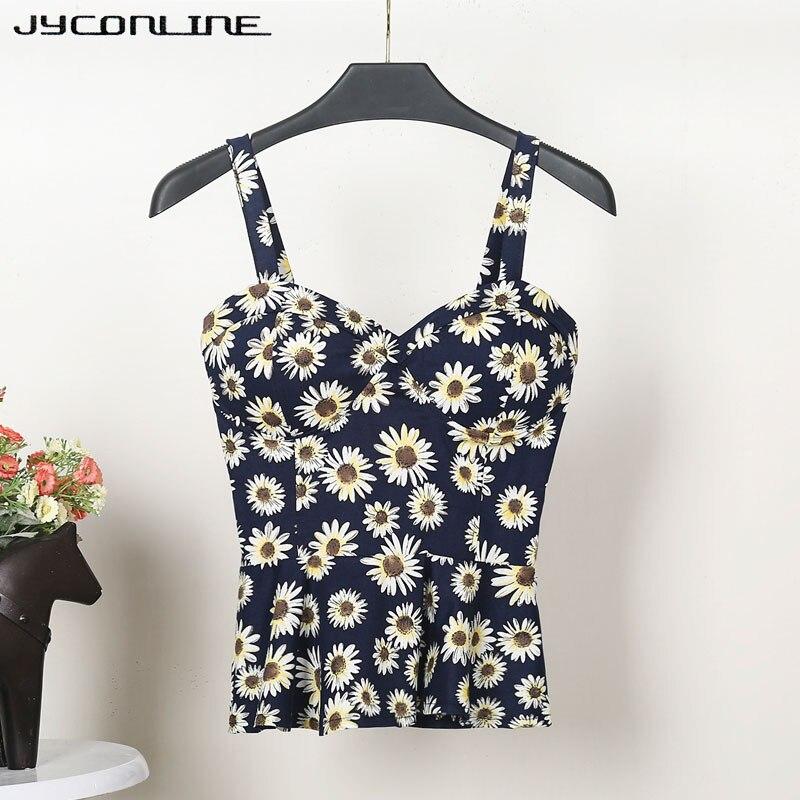 Jyconline Floral Bustier Crop Top Summer Women Tank Top Short Vest Sexy Camis Women Tops Cropped Feminino Ruffles Bralette Bra #4