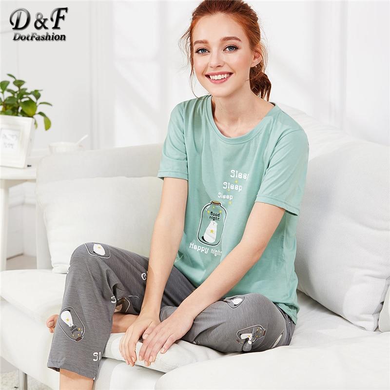 Dotfashion Bear Print Tee & Pants PJ   Set   Summer Cartoon Letter Preppy Round Neck Short Sleeve Nightwear Ladies Casual   Pajama     Set
