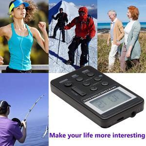 AM FM портативное карманное радио, мини Цифровая настройка стерео с перезаряжаемой батареей и наушниками для ходьбы/бега/спортзала/кемпинга (B