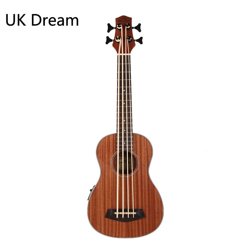 30 Inch Wooden Electrical Bass Guitar 4 Strings Ukulele Musical Instruments Closed Knob Ukulele Guitarra UB-113