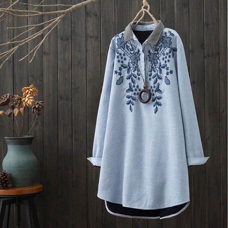 Chemise longue femme brodé blouse tunique kimono cardigan style oriental chinois chemise été hauts pour femmes 2019 AA4608