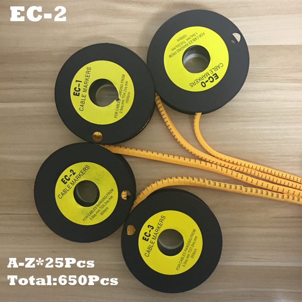 650pcs/Lot EC-2 4mm2 A-Z ABCDEFGHIJKLMNOPQRSTUVWXYZ English Letter Flexible Print Sleeve Tube Label Network Wire Cable Marker