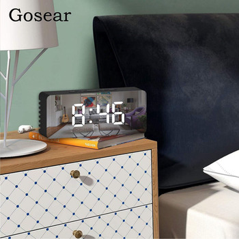 Gosear 5.5 Inch LED Display Digital Alarm Clock Makeup Mirror with Snooze Temperature Function for Travel Office Home digital clock