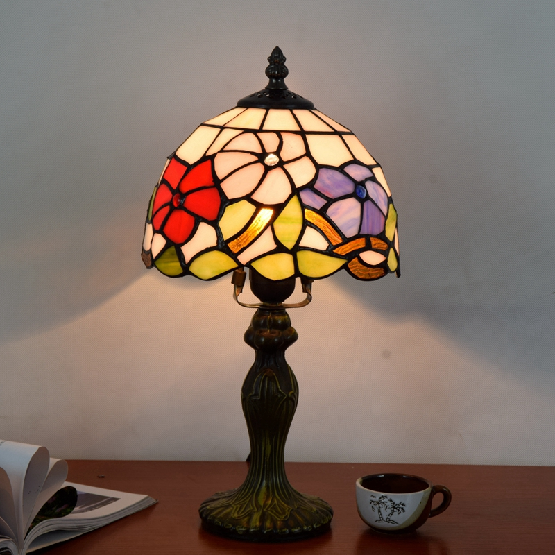 Originality color glass Morning glory desk lamp American Pastoral countryside Warm colors Decorative light 110-240V Dia:20CM originality stained glass garden flower desk lamp american pastoral countryside hotel barbedside led lamp 110 240v dia 20cm