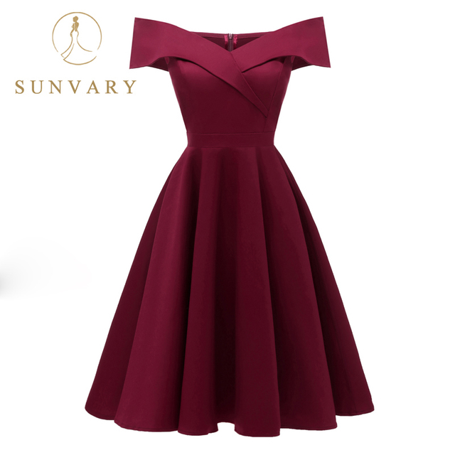 Sunvary Off the Shoulder Burgundy Homecoming Dress Knee Length Pleated Short Party Gown Zipper Back Criss-Cross Homecoming Gown
