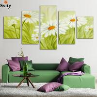 Fashion Hot Sell 5 Panels White Chrysanthemum Flowers Modern Art Canvas Wall Paintings Hanging Pictures For