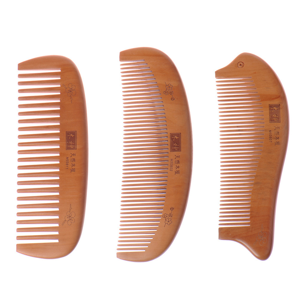 2017 Hot Peach Wooden Comb Natural Health Cushion Massage Hair brush Tangle Beard Combs hair straightener paddle brush