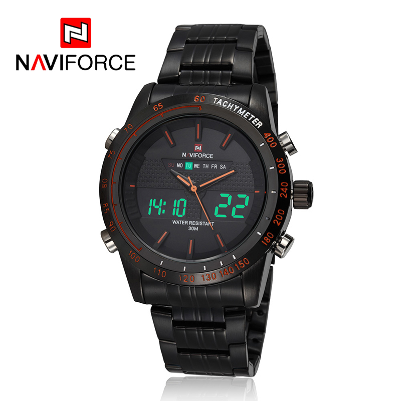 NAVIFORCE 2016 font b Men b font Watch Luxury Full Steel Quartz Clock Digital LED Watch