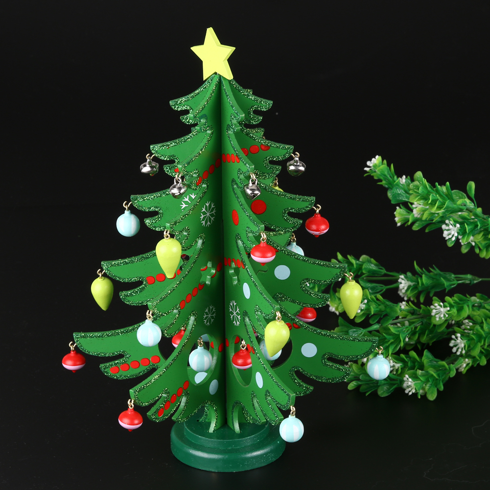 2017 1pcs Cartoon Wooden Christmas Tree Home Decoration New Year Xmas  Tree Top Ornament Gift For
