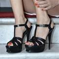 14 cm Plataforma de Los Tacones Altos Gladiador Sandalias de Las Mujeres Zapatos de Mujer Bombas Roma t-correa de Pasarela de Las Mujeres Sandalias de Verano Sandalias Mujer