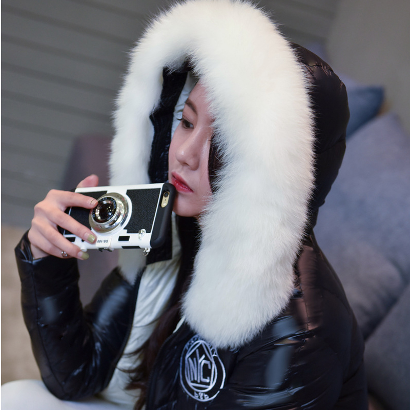 2018 White Real Fox Fur Womens Winter Jackets and Coats X-Long 90% White Duck Down Plus XXXXL Warm Coat winterjas dames XC020