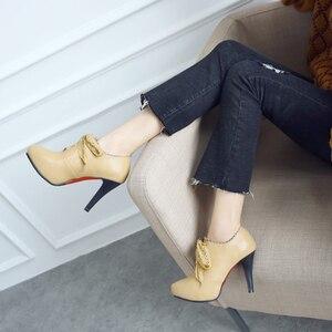 Image 3 - Big Size 11 12 13 14 15 ladies high heels women shoes woman pumps Round headed single shoe waterproof table lace strap