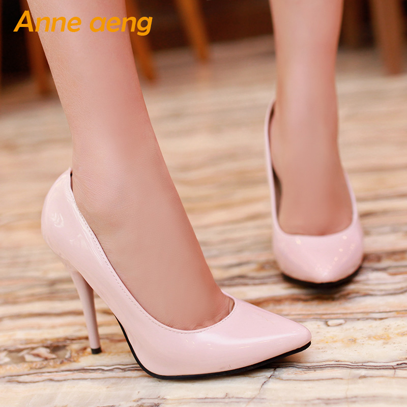 spring summer women pumps high thin heels pointed toe crystal classic office lady pumps black red shoes women big size 44 45 46