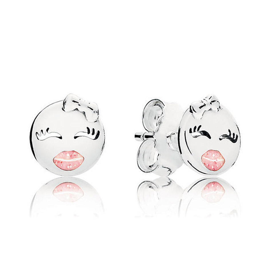 Authentic 925 Sterling Silver Earrings For Women Playful Winks Stud Earrings Light Pink Enamel Girl Gift fit Lady Jewelry