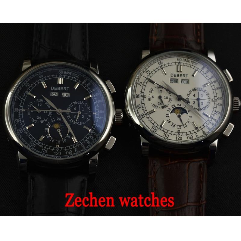 лучшая цена 42mm Debert Black Dial Men's automatic mechanical watch Business calendar watch