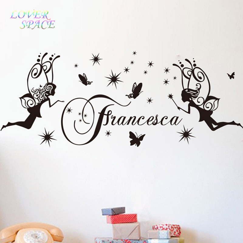 Personalised srar butterfly angel princess wall stickers home decor cartoon wall decal vinyl wall sticker for