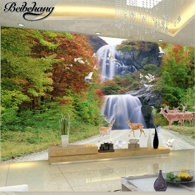 beibehang Custom mural wallpaper 3d modern nature waterfall TV backdrop living room bedroom murals wallpaper papel de parede  free shipping england wind red white blue fashion backdrop tv backdrop bedroom living room mural wallpaper