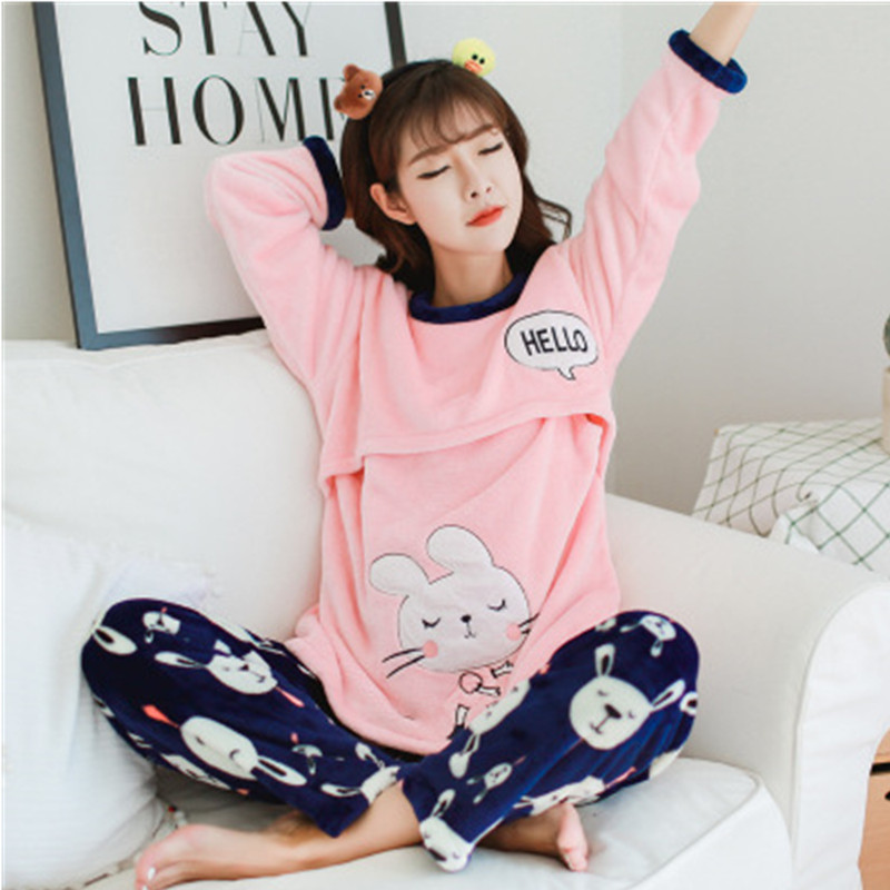 2018 Winter Maternity Sleepwear Nursing Pajamas for Pregnant Women Winter Nightgowns Homewear Warming Flannel Tops and Pants