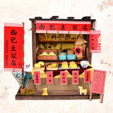 DIY Wooden Dollhouse Miniature Kit with Furniture, LED Light Chinese Style Breakfast Bar Dollhouse Furniture Kit