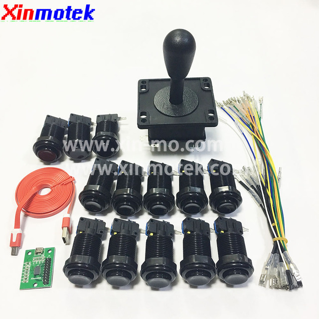 DIY Arcade Buttons and Joystick for PC PS3 Raspberry Pi,HAPP Style Arcade Controller Kit Including Zero Delay USB Encoder Board