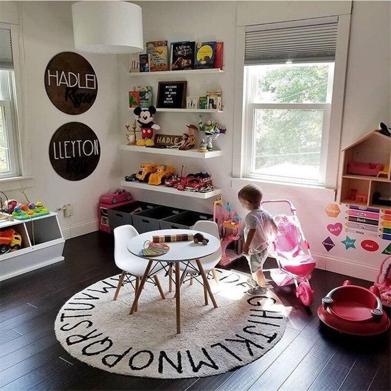 Alphabet impression tapis rond enfant tapis de jeu/tapis bébé enfants jeu ramper Gym activité tapis de sol tapis couverture développement tapis