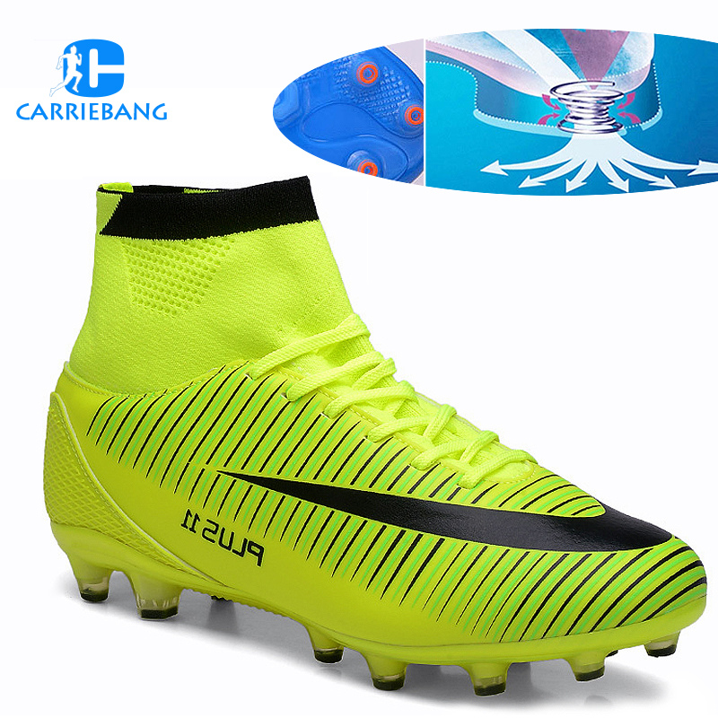 Large Size 35-46 Soccer Shoes Men High Ankle Football Shoes Tf/fg/ag Long Spikes Training Football Boots Hard-wearing Sneakers(China)
