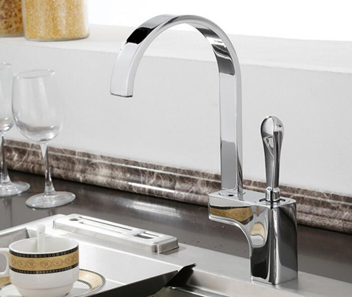 Free shipping Square Kitchen Faucet Single Handle for Kitchen Sink Mixer Tap Chrome Finish brass material KF441 free shipping high quality chrome brass kitchen faucet single handle sink mixer tap pull put sprayer swivel spout faucet