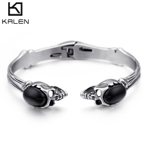 Gothic Double Skull Heads Charm Bangles For Men Punk Stainless Steel 66mm  Hinged Opening Cuff Bangle af19da807d26