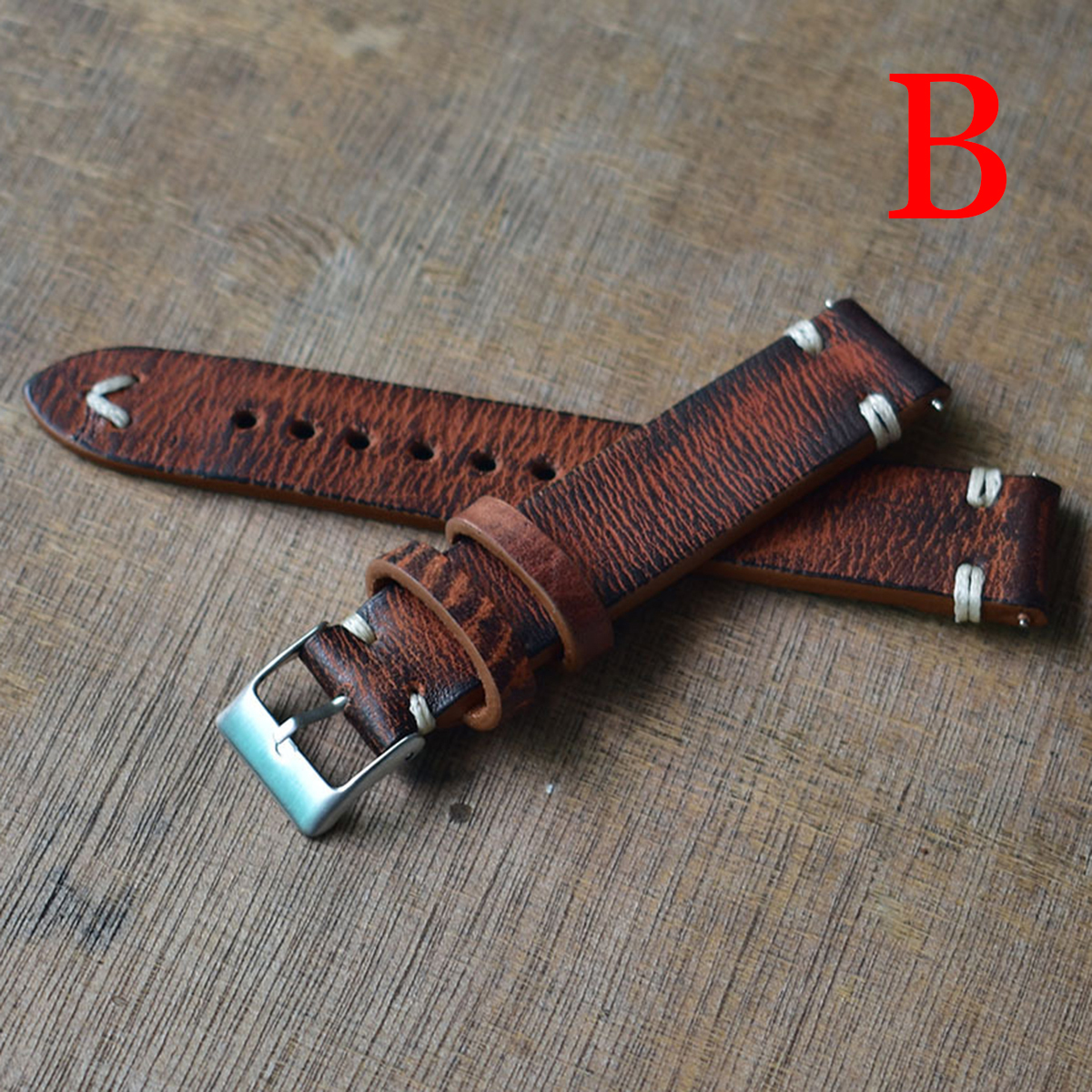 6 Colors Genuine Leather Watchband 18/20/22/24mm Handmade Vintage Stitching Design Wristband Calfskin Strap With Metal Buckle
