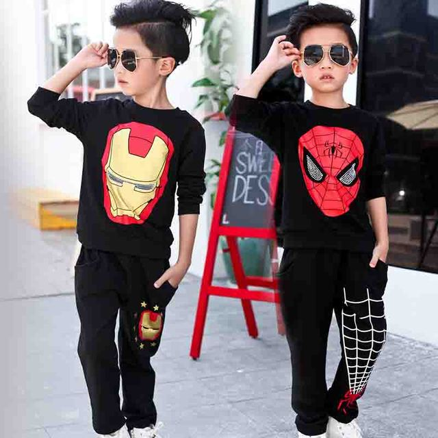 Grandwish spiderman conjunto de roupas para o menino crianças camisa dos desenhos animados + trouses treino traje primavera das crianças roupas 3 t-10 t, sc823