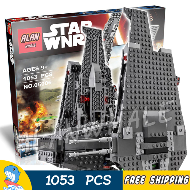 1053pcs 2016 Bela 05006 New Star Wars Kylo Rens Command Shuttle Model Building Blocks Kids Toys Compatible With Lego