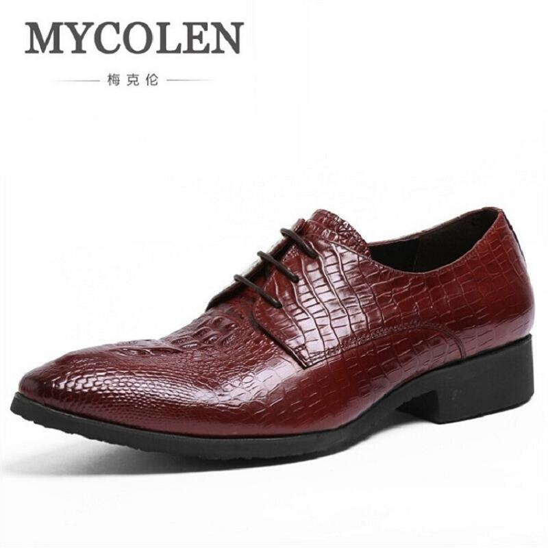MYCOLEN Leather Men Shoes Pointed Toe Elegant Crocodile Leather Mens Dress Shoes Oxford For Men Business Shoes Herren Schuhe