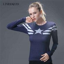 982a9fee9e7c4 3d Print Captain America Compression Shirt For Women T-shirt Long Sleeve  O-neck
