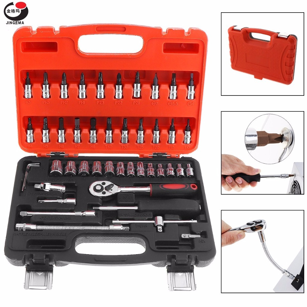 46pcs 1/4 Inch Motorcycle Automobile Car Repair Tool Precision Socket Wrench Set Ratchet Torque Wrench Kit for Auto Repairing 46pcs 1 4 inch socket set car repair tool ratchet torque wrench combo tools kit auto repairing gator grip wrenches hand tools