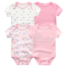 Kiddiezoom для маленьких девочек Комбинезон короткий рукав Цветочный Летняя одежда 4 шт./лот Одежда для новорожденных Комбинезоны Детская одежда fille