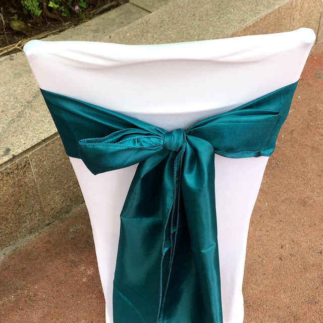 Teal Colored Chairs Table And Two Patio Pack Of 50 Pcs Blue Color 6 X108 Chair Bands Satin Sashes Bow Wedding Banquet Supply Decoration