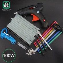 送料無料 100 ワットdiyホットメルトグルーガンセットブラックは、トリガー修復ツール光GG 5 110v 240v