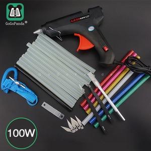Image 1 - Бесплатная доставка, набор клеевого пистолета 100 Вт для самостоятельной сборки, черные стержни, триггер, художественное ремесло, инструмент для ремонта с подсветкой, 110 В 240 В