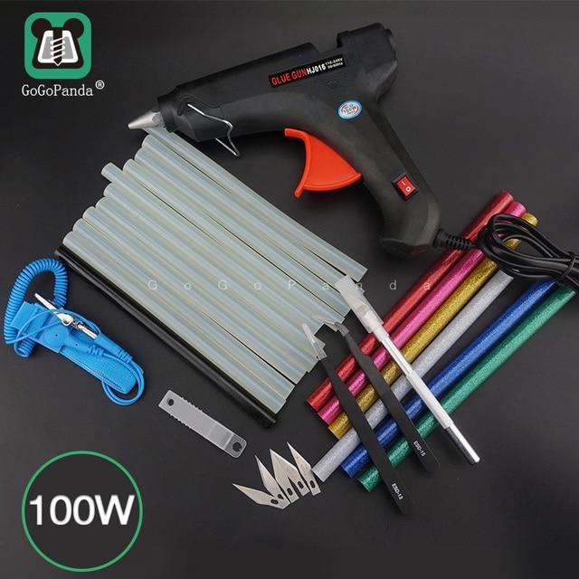 Бесплатная доставка, набор клеевого пистолета 100 Вт для самостоятельной сборки, черные стержни, триггер, художественное ремесло, инструмент для ремонта с подсветкой, 110 В 240 В